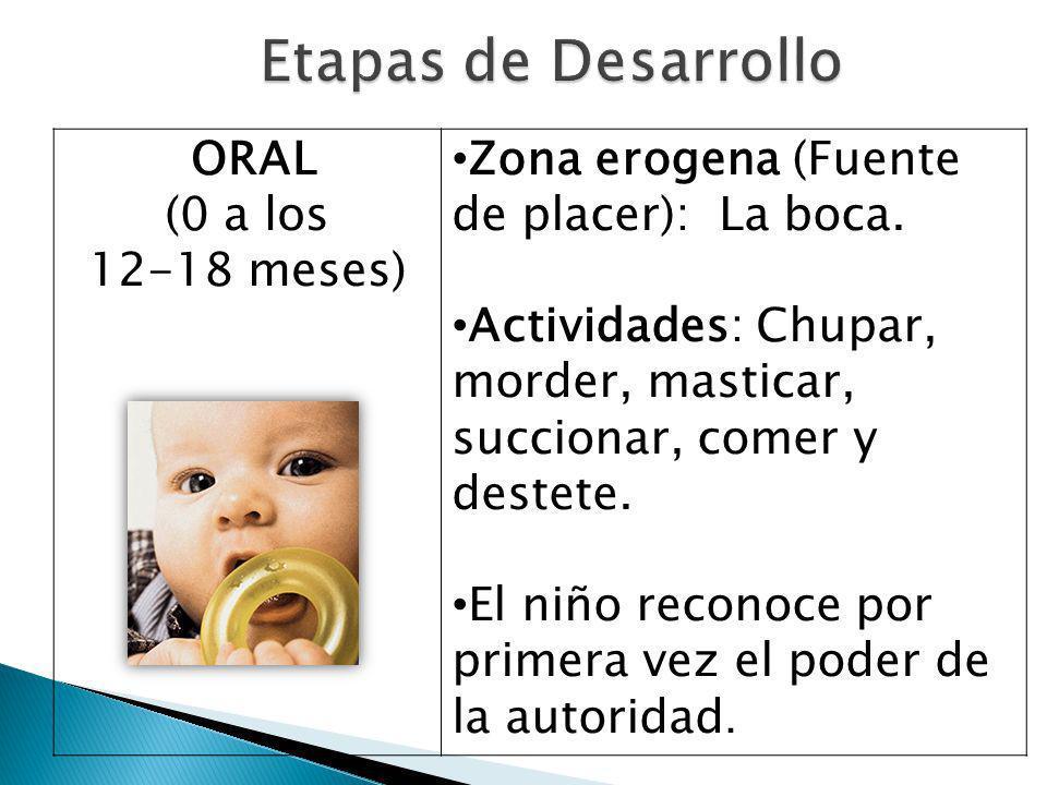 ORAL (0 a los 12-18 meses) Zona erogena (Fuente de placer): La boca.