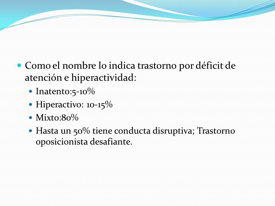 Como el nombre lo indica trastorno por déficit de atención e hiperactividad: Inatento:5-10% Hiperactivo: 10-15% Mixto:80% Hasta un 50% tiene conducta disruptiva; Trastorno oposicionista desafiante.