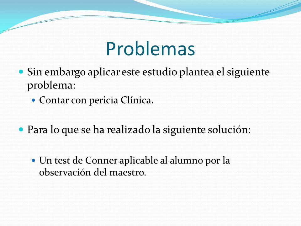 Problemas Sin embargo aplicar este estudio plantea el siguiente problema: Contar con pericia Clínica.