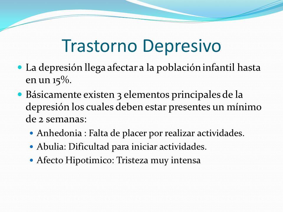 Trastorno Depresivo La depresión llega afectar a la población infantil hasta en un 15%.