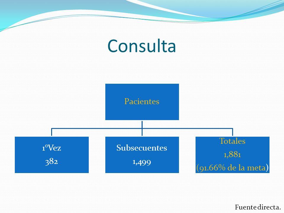 Consulta Pacientes 1°Vez 382 Subsecuentes 1,499 Totales 1,881 (91.66% de la meta) Fuente directa.