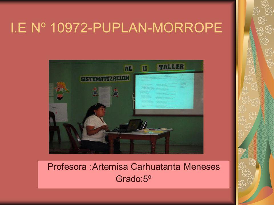 I.E Nº 10972-PUPLAN-MORROPE Profesora :Artemisa Carhuatanta Meneses Grado:5º