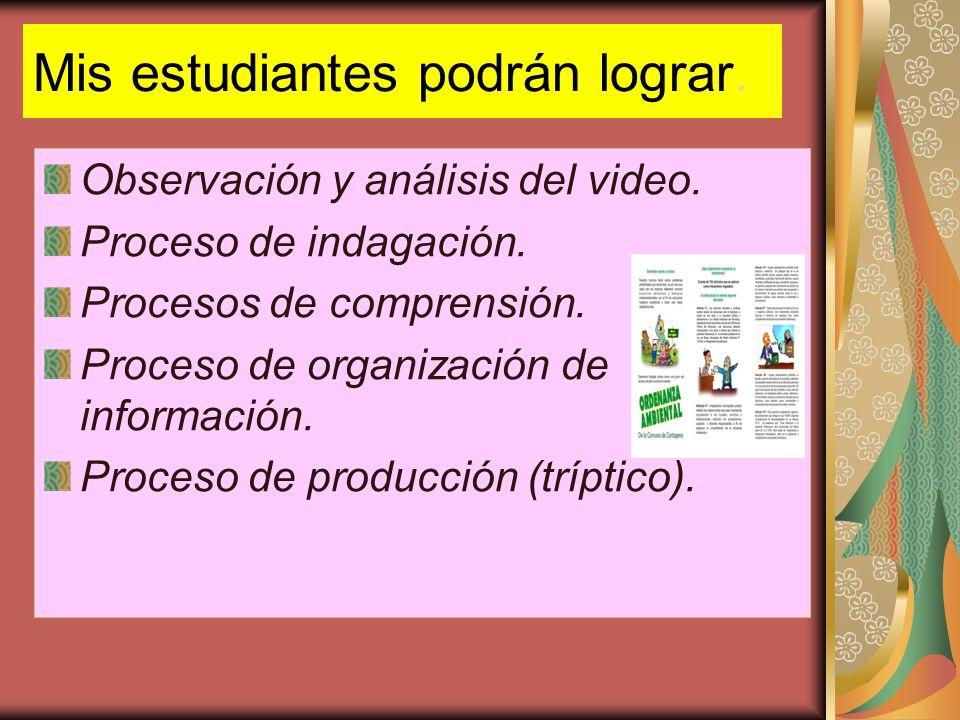 Mis estudiantes podrán lograr. Observación y análisis del video. Proceso de indagación. Procesos de comprensión. Proceso de organización de informació