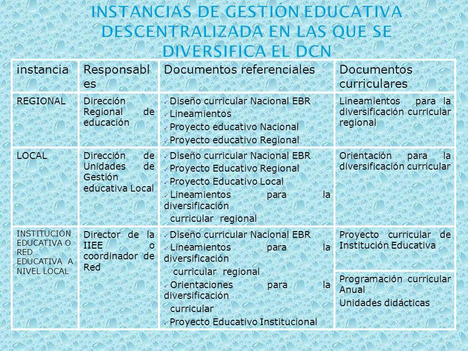 instanciaResponsabl es Documentos referencialesDocumentos curriculares REGIONALDirección Regional de educación Diseño curricular Nacional EBR Lineamie