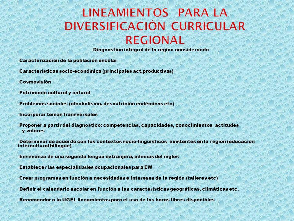 Diagnostico integral de la región considerando Caracterización de la población escolar Características socio-económica (principales act.productivas) C