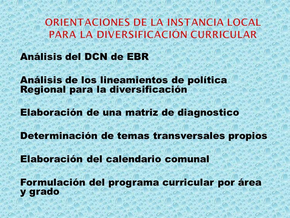 Análisis del DCN de EBR Análisis de los lineamientos de política Regional para la diversificación Elaboración de una matriz de diagnostico Determinaci