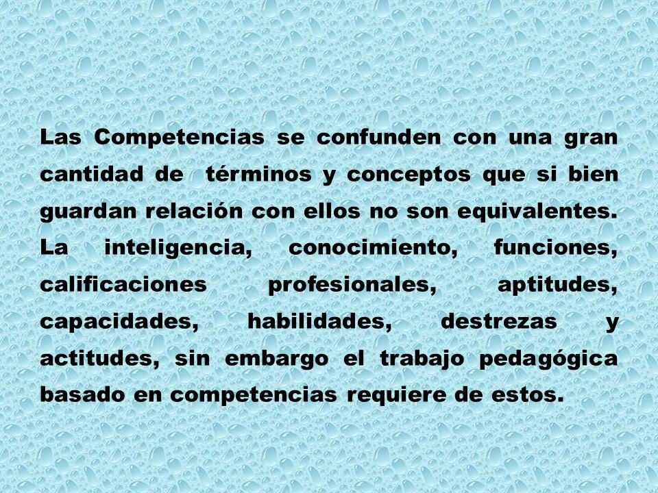 Las Competencias se confunden con una gran cantidad de términos y conceptos que si bien guardan relación con ellos no son equivalentes. La inteligenci