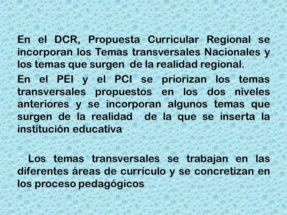 En el DCR, Propuesta Curricular Regional se incorporan los Temas transversales Nacionales y los temas que surgen de la realidad regional. En el PEI y