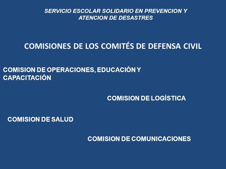 COMISIONES DE LOS COMITÉS DE DEFENSA CIVIL SERVICIO ESCOLAR SOLIDARIO EN PREVENCION Y ATENCION DE DESASTRES COMISION DE COMUNICACIONES COMISION DE SAL