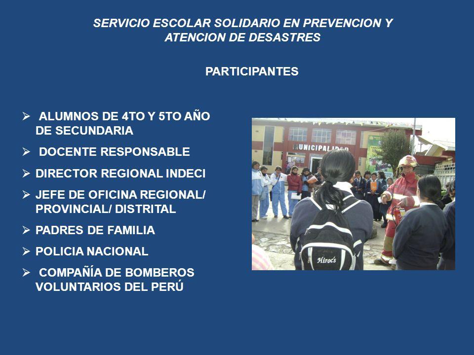 SERVICIO ESCOLAR SOLIDARIO EN PREVENCION Y ATENCION DE DESASTRES PARTICIPANTES ALUMNOS DE 4TO Y 5TO AÑO DE SECUNDARIA DOCENTE RESPONSABLE DIRECTOR REG