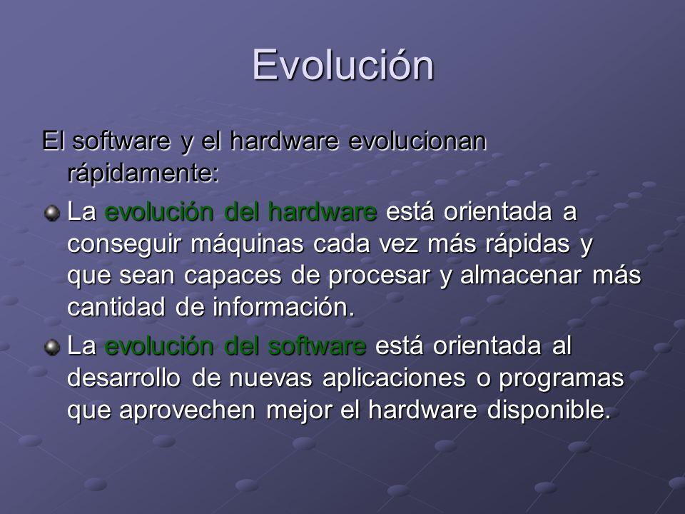 Evolución El software y el hardware evolucionan rápidamente: La evolución del hardware está orientada a conseguir máquinas cada vez más rápidas y que