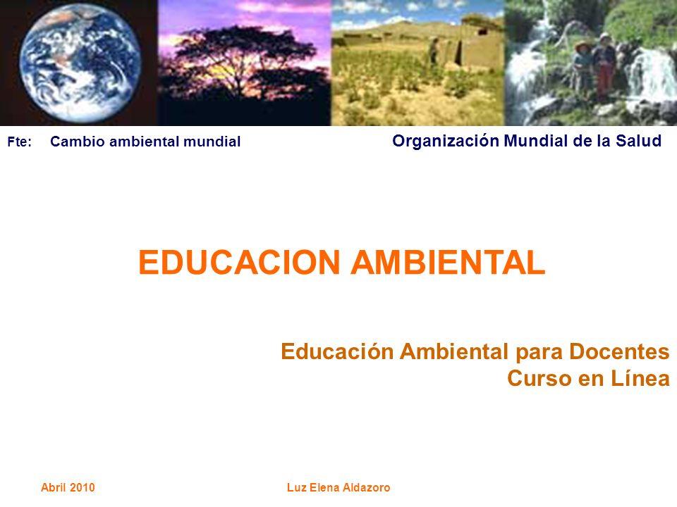 Abril 2010Luz Elena Aldazoro EDUCACION AMBIENTAL Educación Ambiental para Docentes Curso en Línea Fte: Cambio ambiental mundial Organización Mundial d