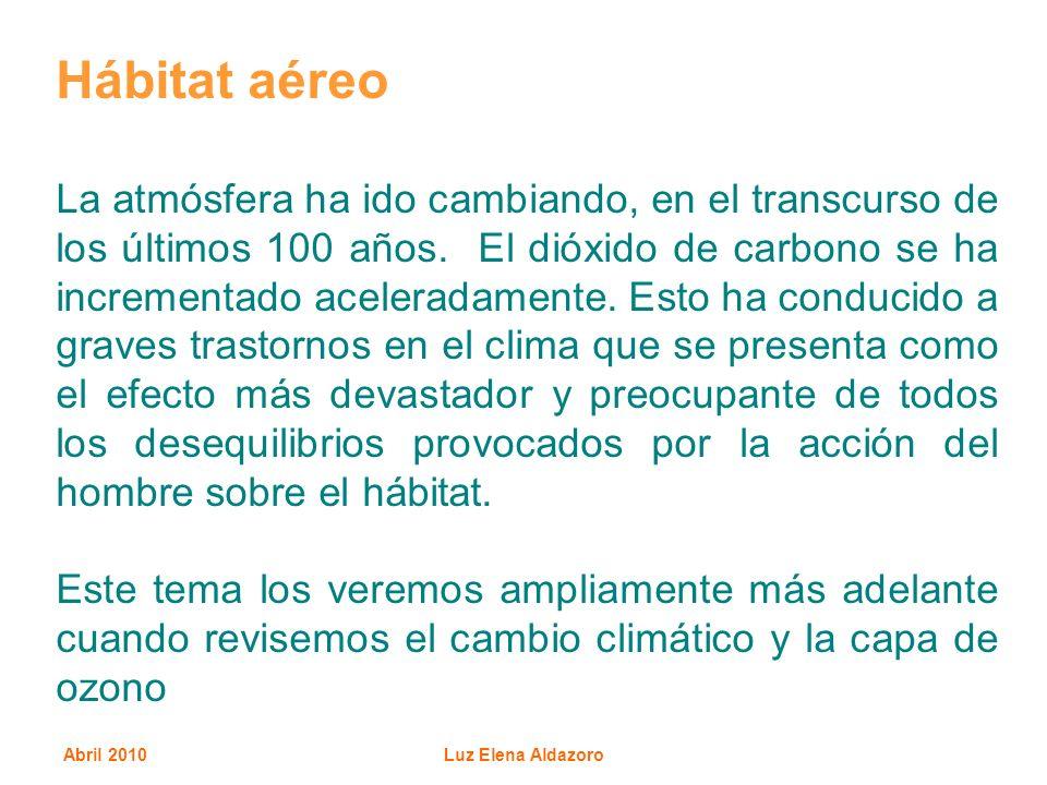 Abril 2010Luz Elena Aldazoro Hábitat aéreo La atmósfera ha ido cambiando, en el transcurso de los últimos 100 años. El dióxido de carbono se ha increm