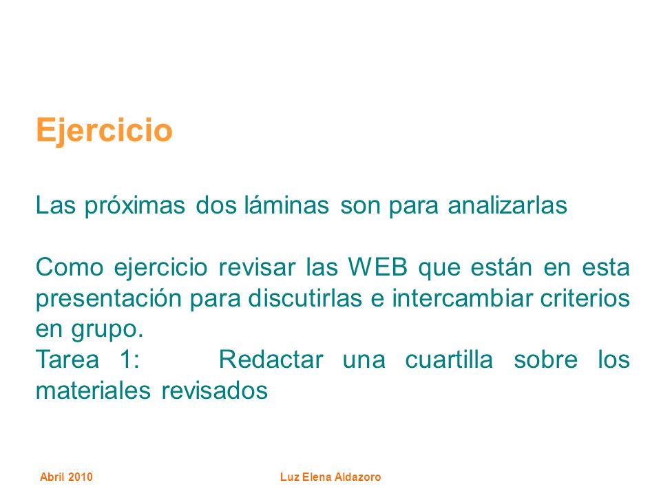 Abril 2010Luz Elena Aldazoro Ejercicio Las próximas dos láminas son para analizarlas Como ejercicio revisar las WEB que están en esta presentación par