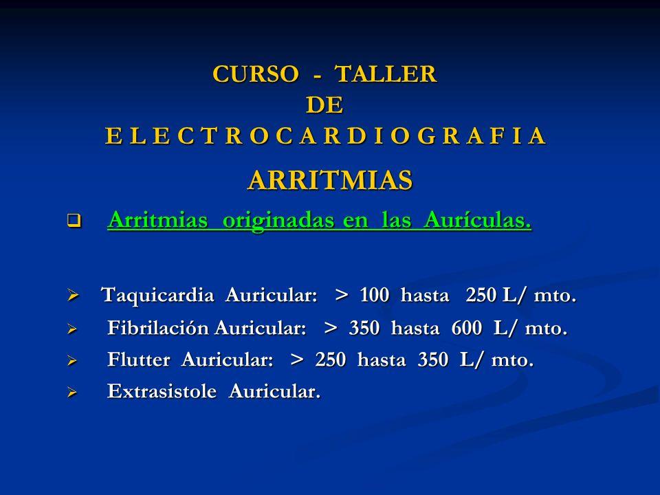 CURSO - TALLER DE E L E C T R O C A R D I O G R A F I A ARRITMIAS Arritmias originadas en las Aurículas. Arritmias originadas en las Aurículas. Taquic