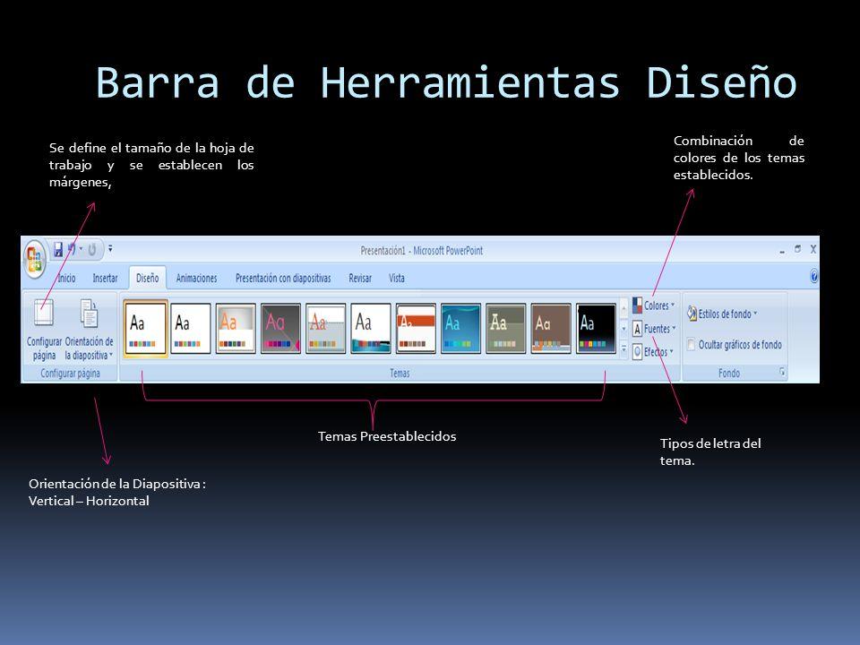 Barra de Herramientas Diseño Se define el tamaño de la hoja de trabajo y se establecen los márgenes, Orientación de la Diapositiva : Vertical – Horizo