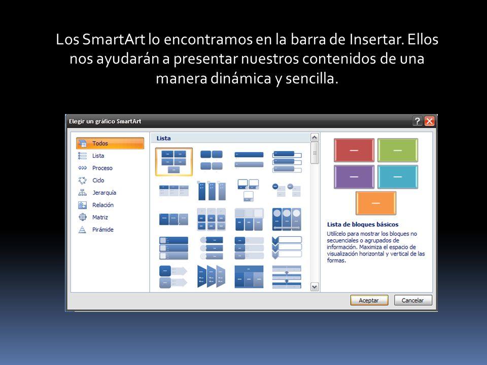 Los SmartArt lo encontramos en la barra de Insertar. Ellos nos ayudarán a presentar nuestros contenidos de una manera dinámica y sencilla.