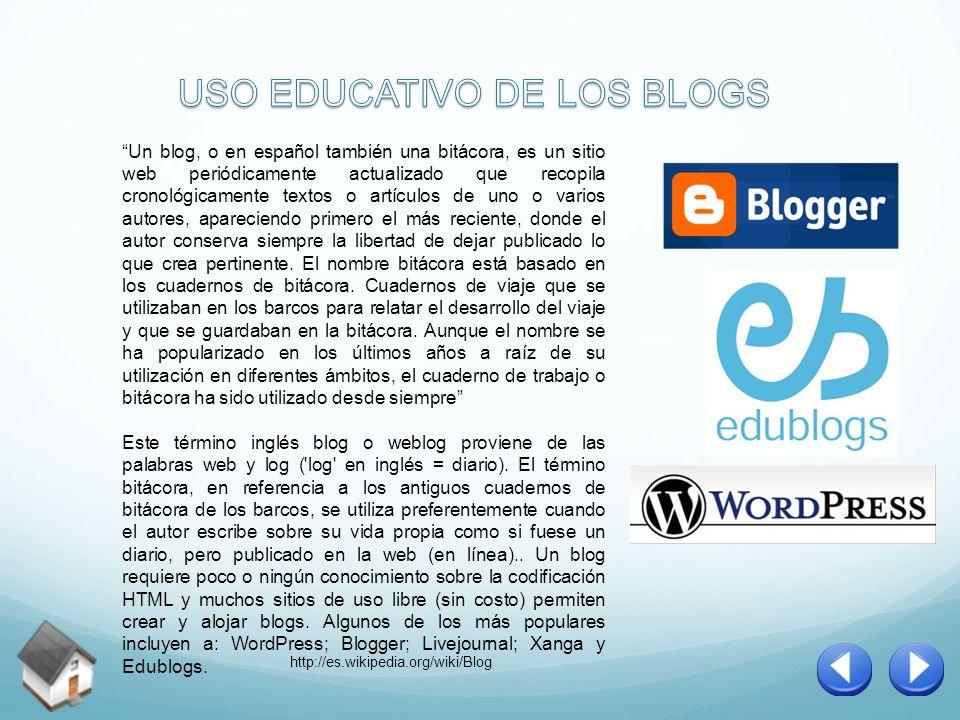 Un blog, o en español también una bitácora, es un sitio web periódicamente actualizado que recopila cronológicamente textos o artículos de uno o vario