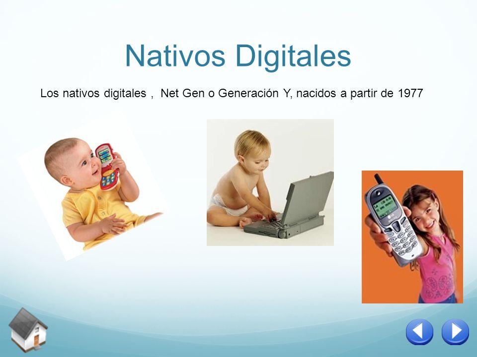 Nativos Digitales Los nativos digitales, Net Gen o Generación Y, nacidos a partir de 1977