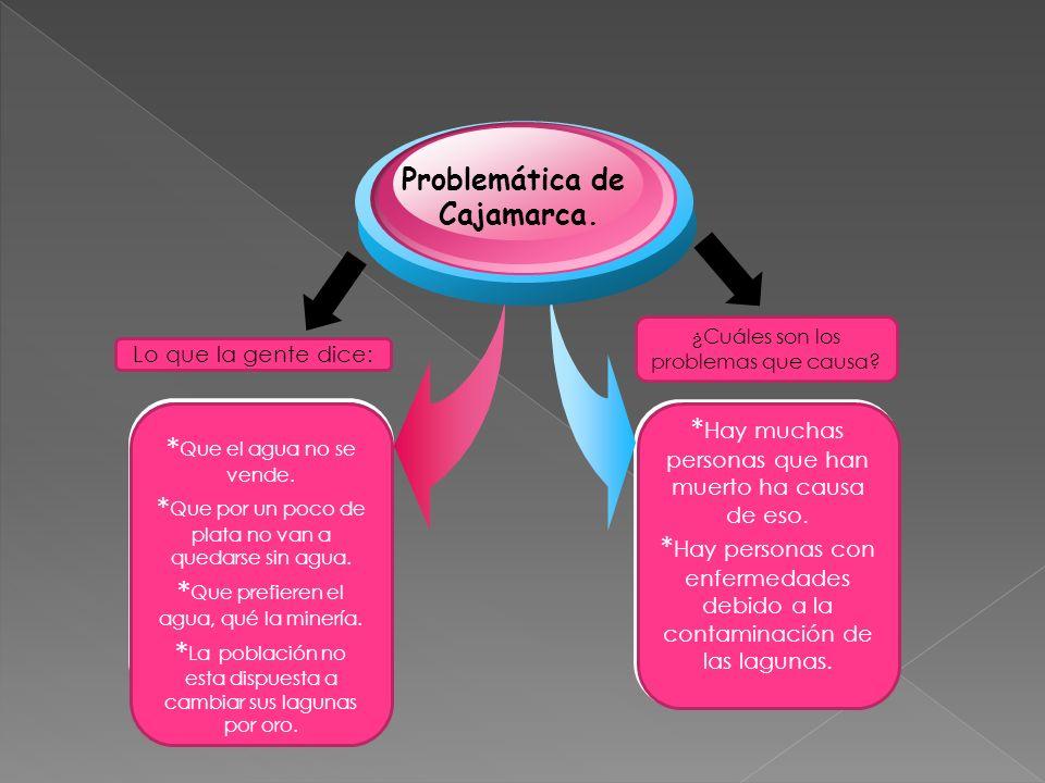 Problemática de Cajamarca. Lo que la gente dice: ¿Cuáles son los problemas que causa? * Hay muchas personas que han muerto ha causa de eso. * Hay pers