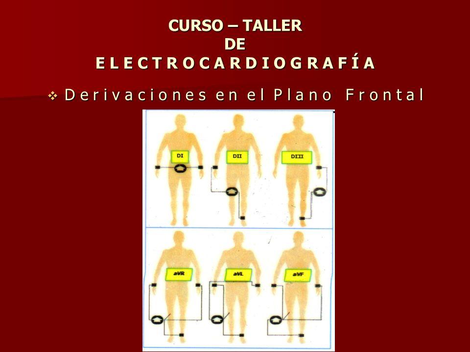CURSO – TALLER DE E L E C T R O C A R D I O G R A F Í A D e r i v a c i o n e s e n e l P l a n o F r o n t a l D e r i v a c i o n e s e n e l P l a