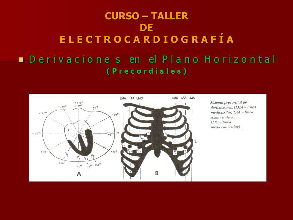 CURSO – TALLER DE E L E C T R O C A R D I O G R A F Í A D e r i v a c i o n e s en el P l a n o H o r i z o n t a l D e r i v a c i o n e s en el P l