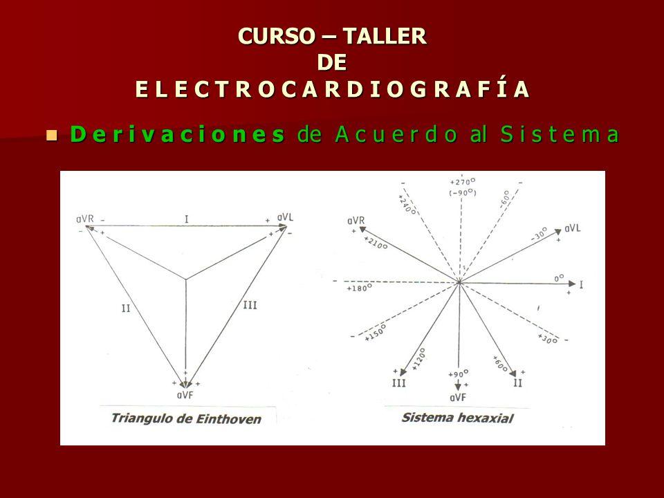 CURSO – TALLER DE E L E C T R O C A R D I O G R A F Í A D e r i v a c i o n e s de A c u e r d o al S i s t e m a D e r i v a c i o n e s de A c u e r