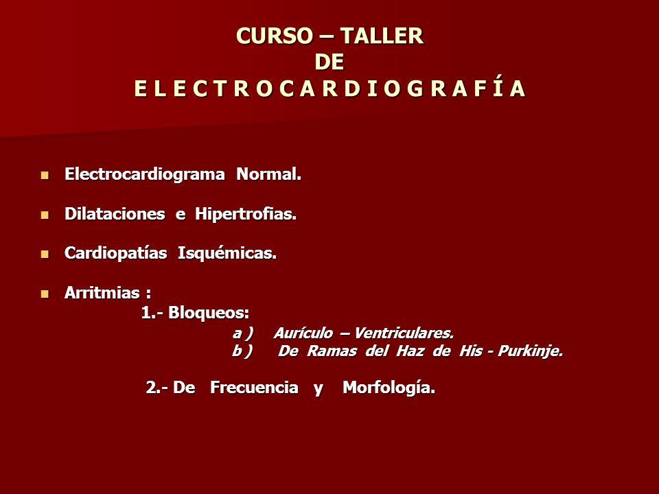 CURSO – TALLER DE E L E C T R O C A R D I O G R A F Í A E l e c t r o c a r d i o g r a m a N o r m a l E l e c t r o c a r d i o g r a m a N o r m a l