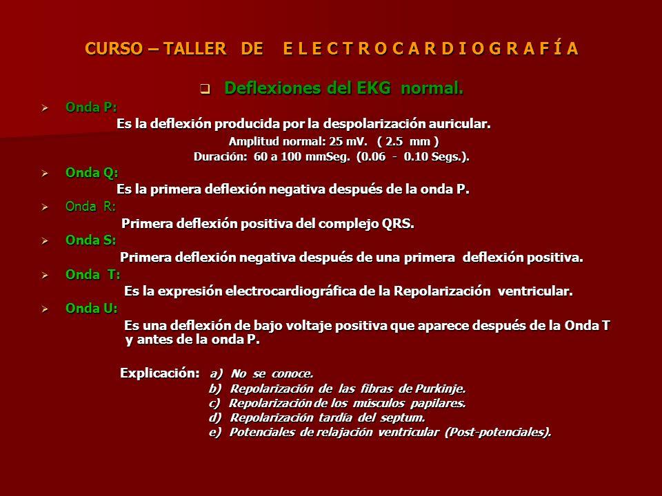 CURSO – TALLER DE E L E C T R O C A R D I O G R A F Í A Deflexiones del EKG normal. Deflexiones del EKG normal. Onda P: Onda P: Es la deflexión produc