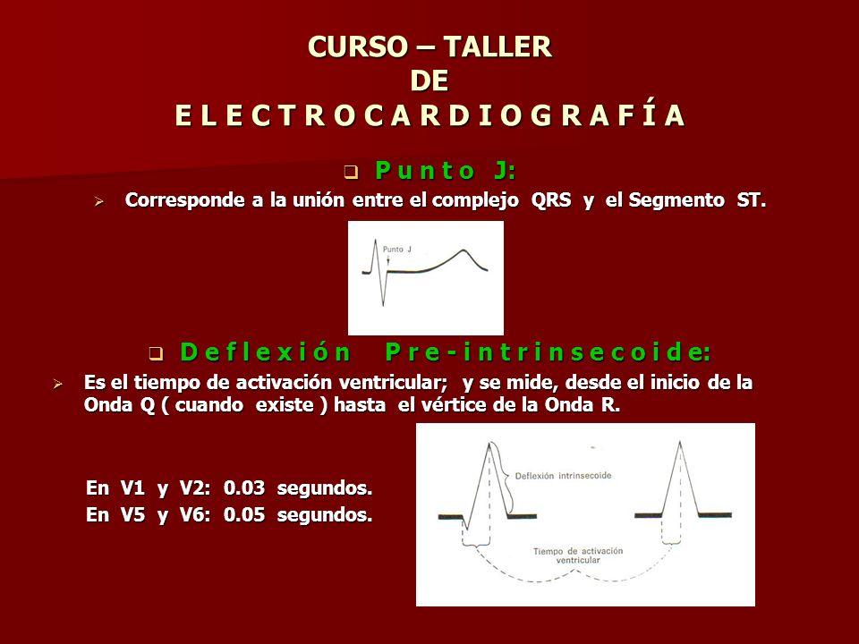 CURSO – TALLER DE E L E C T R O C A R D I O G R A F Í A P u n t o J: P u n t o J: Corresponde a la unión entre el complejo QRS y el Segmento ST. Corre
