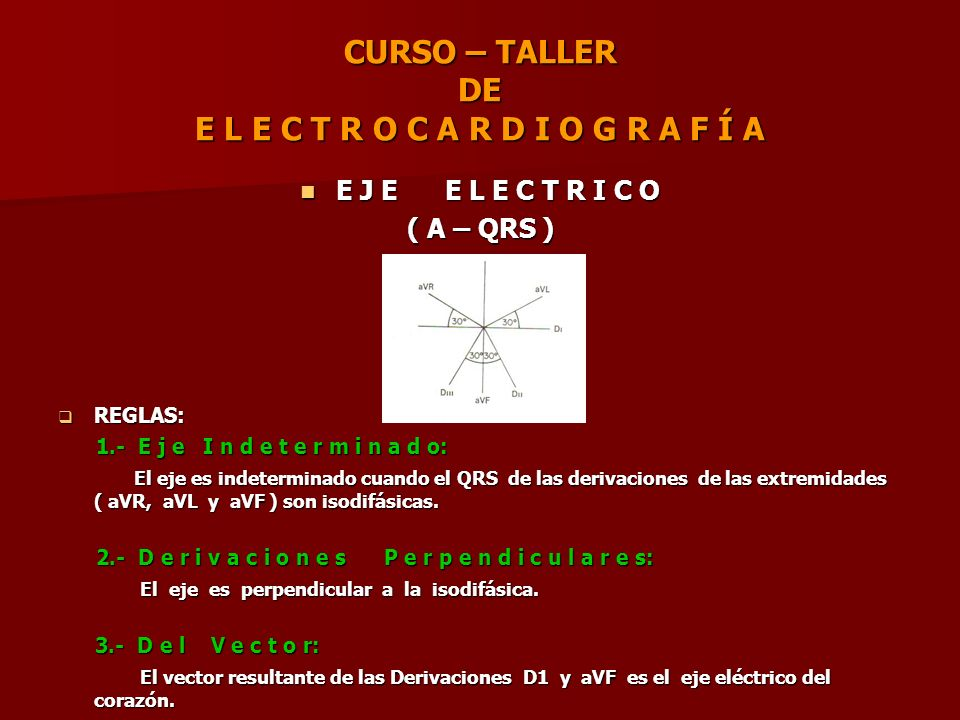 CURSO – TALLER DE E L E C T R O C A R D I O G R A F Í A E J E E L E C T R I C O E J E E L E C T R I C O ( A – QRS ) REGLAS: REGLAS: 1.- E j e I n d e