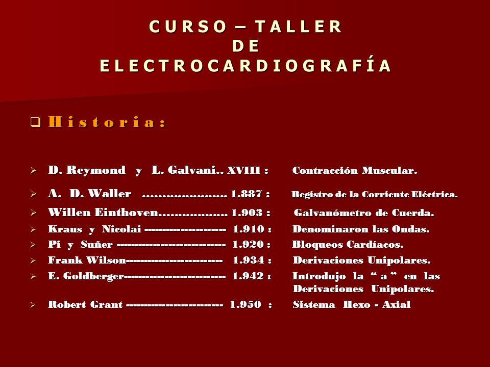 C U R S O – T A L L E R D E E L E C T R O C A R D I O G R A F Í A H i s t o r i a : H i s t o r i a : D. Reymond y L. Galvani.. XVIII : Contracción Mu