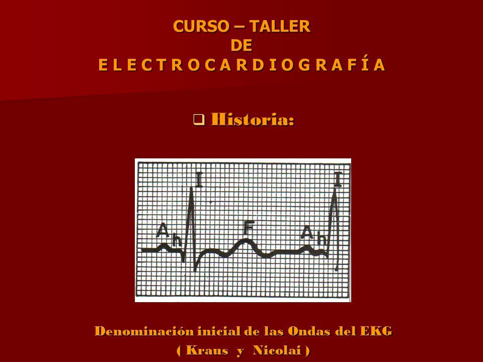 CURSO – TALLER DE E L E C T R O C A R D I O G R A F Í A Historia: Denominación inicial de las Ondas del EKG ( Kraus y Nicolai )