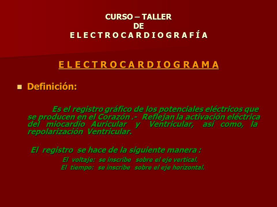 E L E C T R O C A R D I O G R A M A Definición: Definición: Es el registro gráfico de los potenciales eléctricos que se producen en el Corazón.- Refle