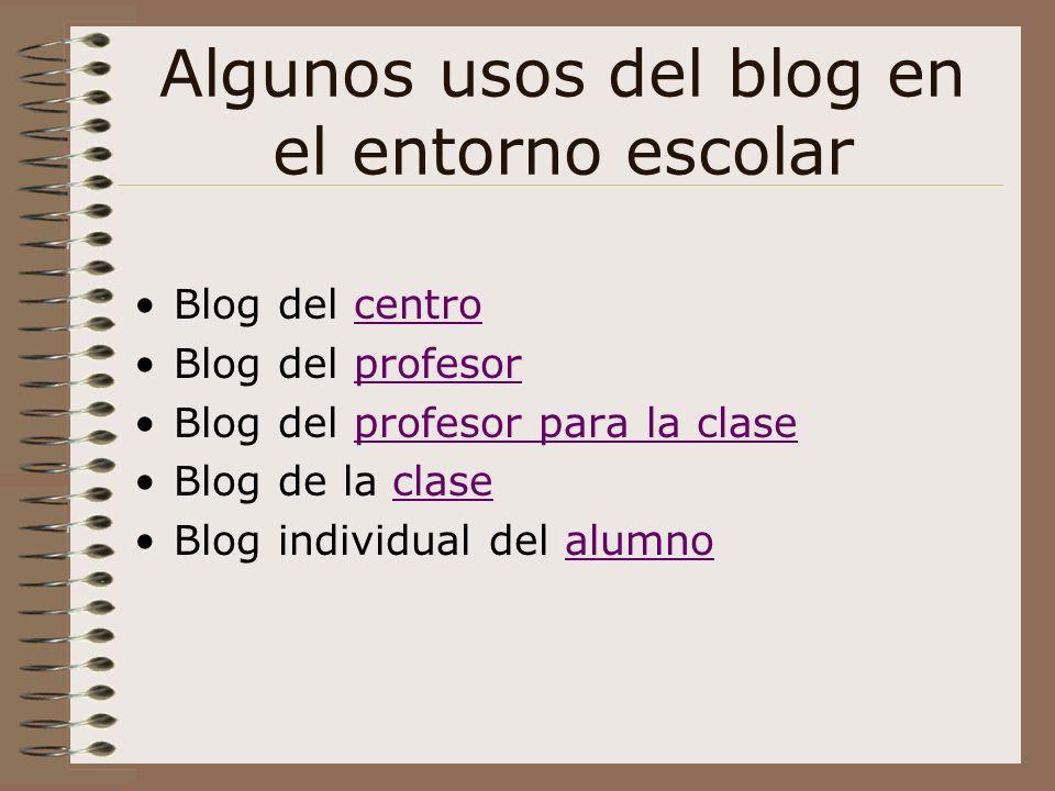 Algunos usos del blog en el entorno escolar Blog del centrocentro Blog del profesorprofesor Blog del profesor para la claseprofesor para la clase Blog