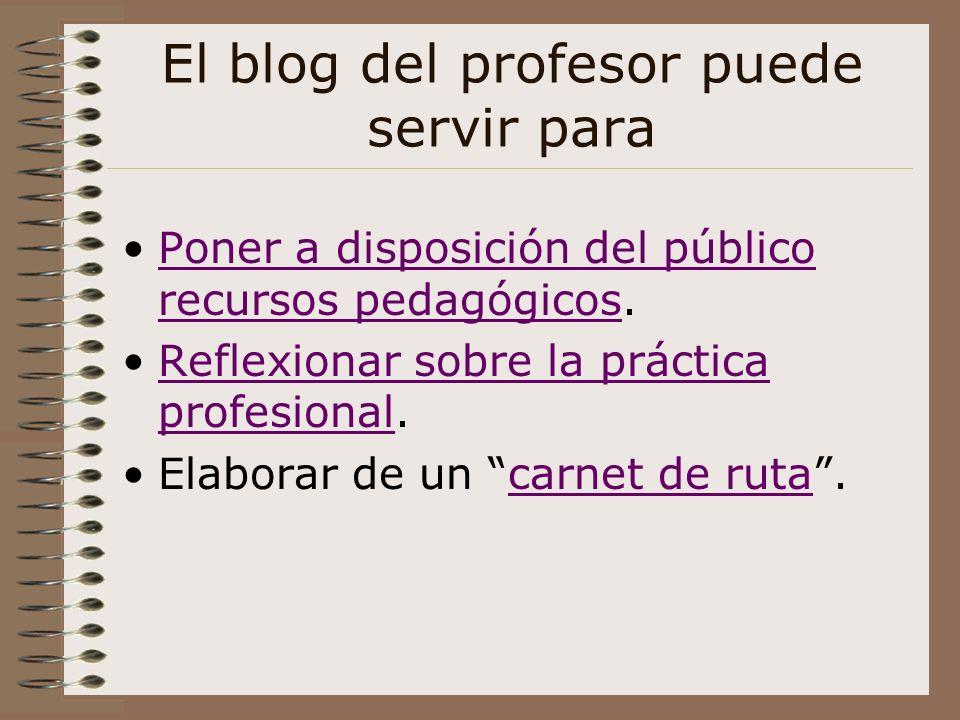 El blog del profesor puede servir para Poner a disposición del público recursos pedagógicos.Poner a disposición del público recursos pedagógicos Refle