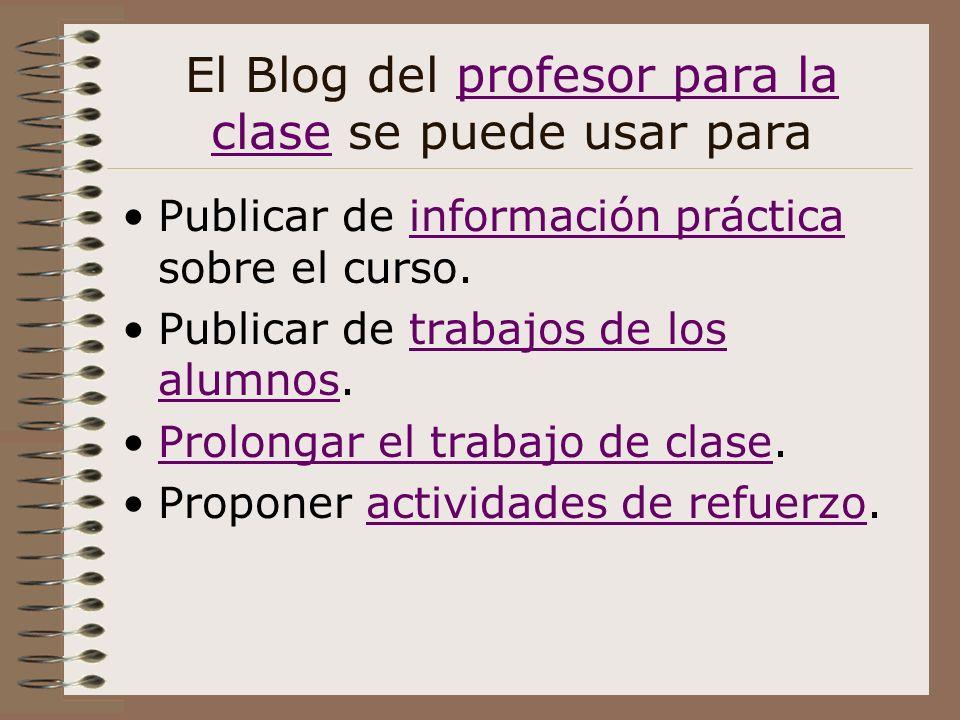 El Blog del profesor para la clase se puede usar paraprofesor para la clase Publicar de información práctica sobre el curso.información práctica Publi