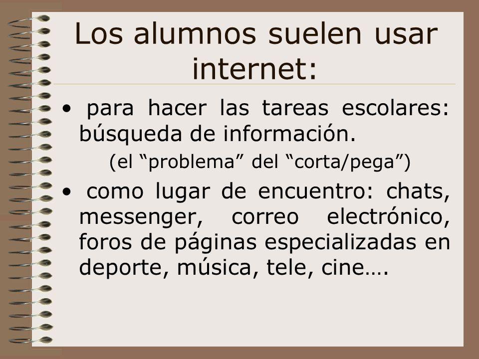 Los alumnos suelen usar internet: para hacer las tareas escolares: búsqueda de información. (el problema del corta/pega) como lugar de encuentro: chat