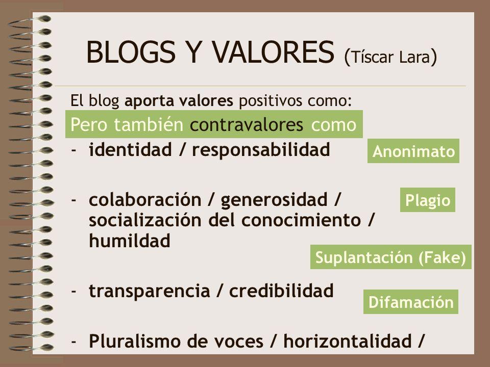 BLOGS Y VALORES ( Tíscar Lara ) El blog aporta valores positivos como: -identidad / responsabilidad -colaboración / generosidad / socialización del co