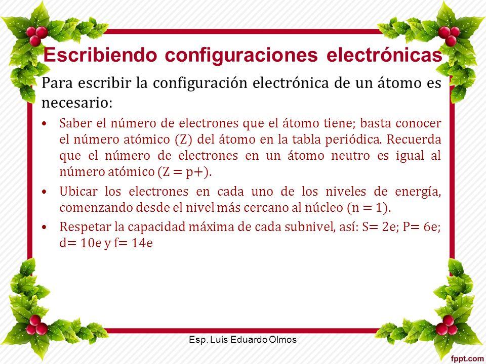 Escribiendo configuraciones electrónicas Para escribir la configuración electrónica de un átomo es necesario: Saber el número de electrones que el áto