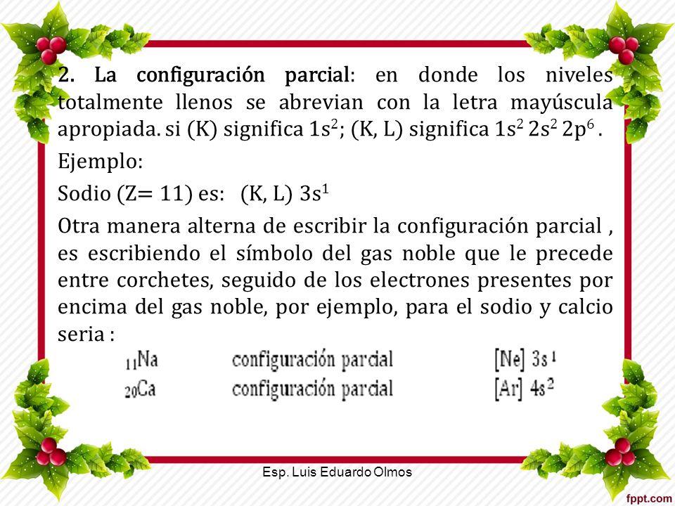 2. La configuración parcial: en donde los niveles totalmente llenos se abrevian con la letra mayúscula apropiada. si (K) significa 1s 2 ; (K, L) signi