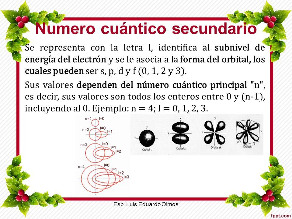 Numero cuántico secundario Se representa con la letra l, identifica al subnivel de energía del electrón y se le asocia a la forma del orbital, los cua