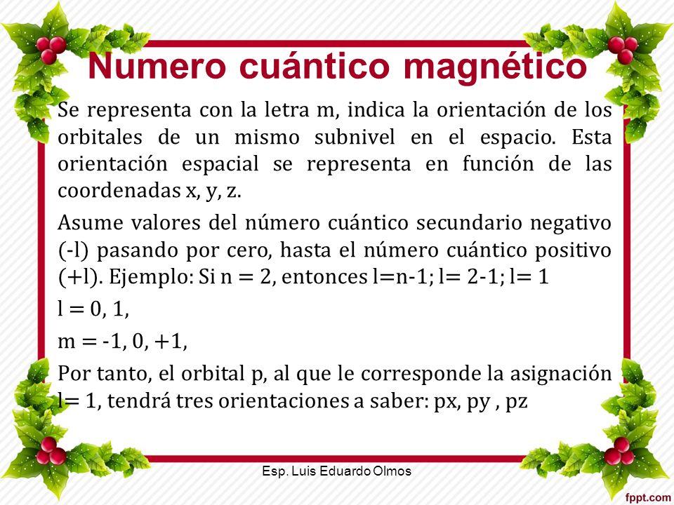 Numero cuántico magnético Se representa con la letra m, indica la orientación de los orbitales de un mismo subnivel en el espacio. Esta orientación es