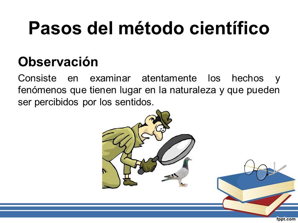Pasos del método científico Observación Consiste en examinar atentamente los hechos y fenómenos que tienen lugar en la naturaleza y que pueden ser per