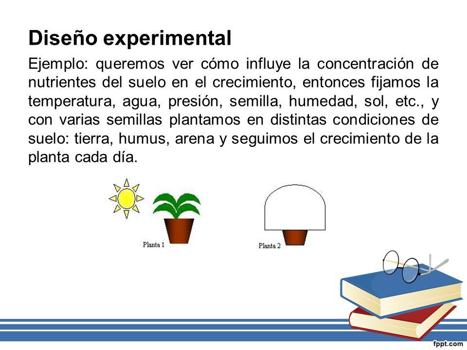 Diseño experimental Ejemplo: queremos ver cómo influye la concentración de nutrientes del suelo en el crecimiento, entonces fijamos la temperatura, ag