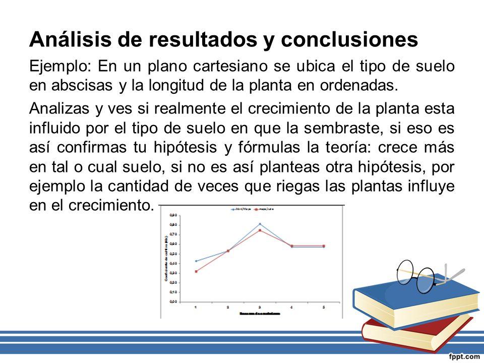 Análisis de resultados y conclusiones Ejemplo: En un plano cartesiano se ubica el tipo de suelo en abscisas y la longitud de la planta en ordenadas. A