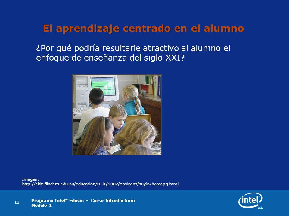 Programa Intel ® Educar - Curso Introductorio Módulo 1 11 El aprendizaje centrado en el alumno ¿Por qué podría resultarle atractivo al alumno el enfoq