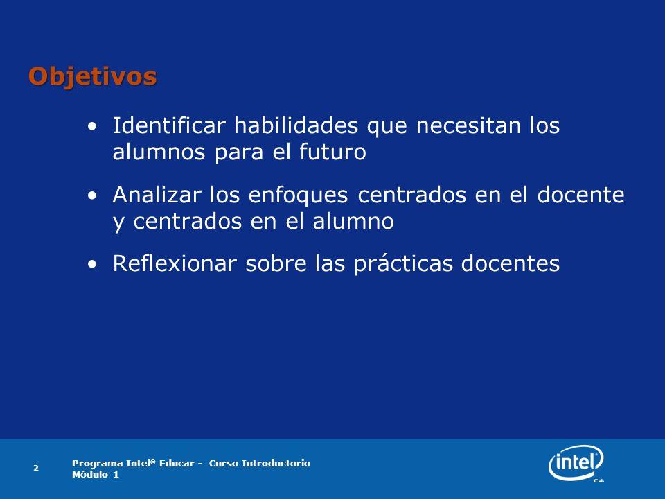 Programa Intel ® Educar - Curso Introductorio Módulo 1 2 Objetivos Identificar habilidades que necesitan los alumnos para el futuro Analizar los enfoq