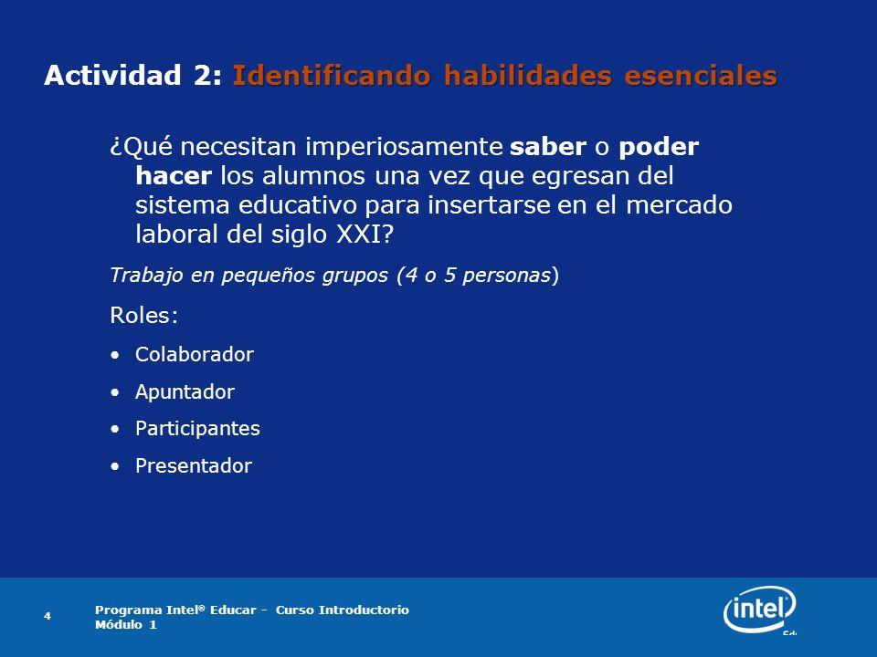 Programa Intel ® Educar - Curso Introductorio Módulo 1 4 Identificando habilidades esenciales Actividad 2: Identificando habilidades esenciales ¿Qué n