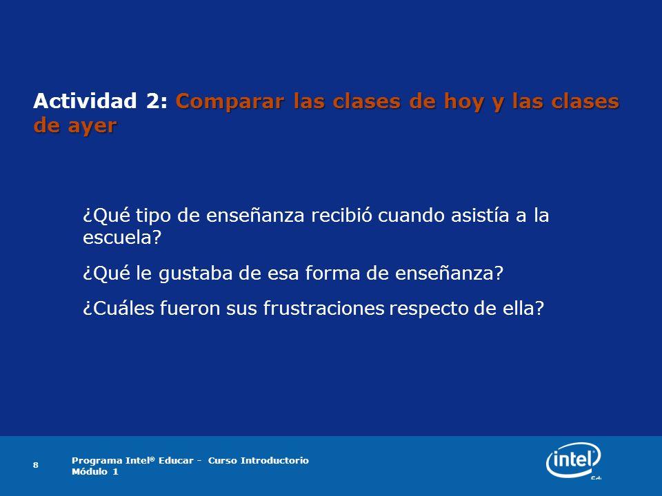 Programa Intel ® Educar - Curso Introductorio Módulo 1 8 Comparar las clases de hoy y las clases de ayer Actividad 2: Comparar las clases de hoy y las